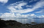stock photo of eigg  - Isles of Eigg and Rum from Mallaig in the Scottish Highlands - JPG