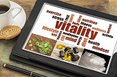 vitality or vital energy concept on a  digital tablet, a collage of pictures and word cloud poster
