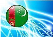 Turkmenistan Flag Button on Abstract Light Background Original Illustration