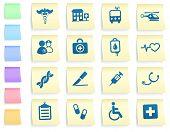 Постер, плакат: Медицинские иконы на разместить его записки бумаги коллекции оригинальные иллюстрации