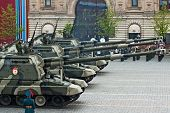MOSCOW - MAY 6: Self-propelled Howitzer MSTA in the Dress rehearsal of Military Parade on 65th anniversary of Victory in Great Patriotic War on May 6, 2010 on Red Square in Moscow, Russia