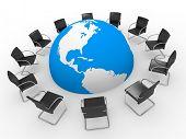 Simboliza a Internet - sala de reuniões do mundo, fórum, chat e etc