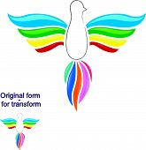 Rainbow bird logo - vector