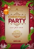 Vector Christmas Party poster design template. Christmas related ornaments objects on color backgrou poster