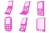 Mobile Phones Designs Type Icons Set isolated on white background
