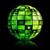 Green Futuristic Digital TV Channels as Background