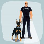 Security Officer Holding Leash Guard Dog poster