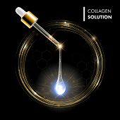 Постер, плакат: Gold serum premium drop Collagen serum with dropper on gold circles shine background Ad skincare c