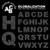 GLOBALIZACIÓN. Alfabeto. Ilustración con términos diferentes de la asociación.
