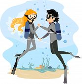 Illustration of a Couple Having an Underwater Wedding