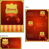 Template designs of menu and business card for coffee shop, bistro and restaurant, vector file inclu