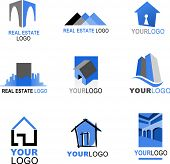 collection of real estate icons, blue and black color