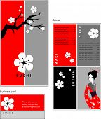 Template designs of menu and business card for coffee shop, SUSHI BAR and restaurant, vector file in