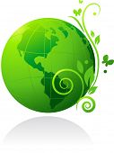 Постер, плакат: Природа Зеленый глобус с цветами и бабочка