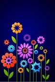 decorative flowers on the dark blue background