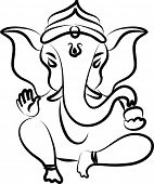 picture of lord krishna  - Calligraphic Ganesha - JPG