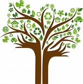 Green tree with hands-shaped trunk and many ecological icons and logos
