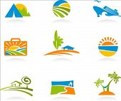 Collection of colourful tourism and vacation icons