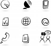 stock photo of computer technology  - Collection of black and white communication icons  - JPG