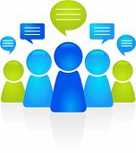 Abstract business people figures with speech bubbles