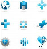Collection of blue medicine and health-care icons