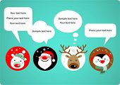 Santa Claus, Rudolph, polar bear and penguin with speech bubbles