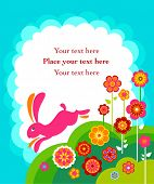 foto of easter bunnies  - Running Easter bunny card with white copyspace - JPG
