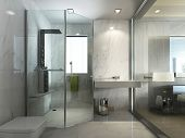 Transparent Glass Bathroom With Shower And Wc. poster