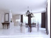 Постер, плакат: Classic White Kitchen dining Room In The Style Of Art Deco