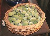 Fresh Almonds In A Basket