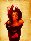Hot young brunette woman waving her hair. Digital composite