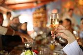 Celebration. Hand holding glass of champagne making a toast. Shallow DOF.