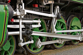 pic of train-wheel  - close up of the wheels of a large steam train symbolising power - JPG