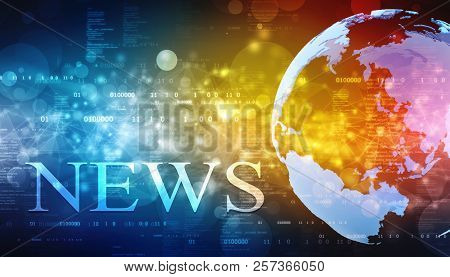 Words News On Digital Background