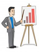 Vector businessman making a positive report at the easel
