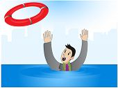 stock photo of lifeline  - Vector illustration of a businessman who drowns - JPG