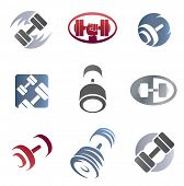 stock photo of weight lifter  - Set of sign weights for fitness or gym emblem - JPG