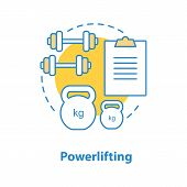 Powerlifting Concept Icon. Weightlifting Idea Thin Line Illustration. Gym. Dumbbells And Kettlebells poster