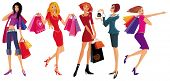Shopping pretty girls. Vector illustration