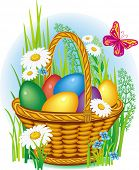 Ð¡olorful Easter Eggs in wicker basket