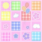 Cute baby greeting card - Stitching series, every object on separate layer