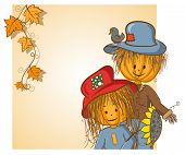 Thanksgiving or Halloween greeting card - Scarecrow and his girlfriend - every object on separate layer