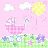 Cute baby greeting card - Stitching series, Vector version also available