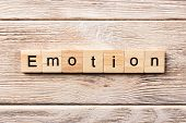Emotion Word Written On Wood Block. Emotion Text On Table, Concept. poster