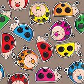Seamless pattern - Colorful cute ladybugs