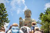 Tian Tan Buddha, Big Budda, The Enormous Tian Tan Buddha At Po Lin Monastery In Hong Kong. The World poster