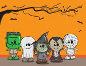 Cute Halloween card - Frankenstein, Ghost, Witch, Dracula, Mummy