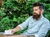 Man Bearded Businessman Sit Terrace With Laptop And Cup Of Coffee. Freelance Benefit. Blogger Create poster
