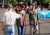Military Veterans in Parade Being Saluted By Bystander