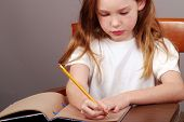 Young Girl Writing in Journal